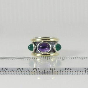 David Yurman Renaissance Sterling Silver Amethyst, Green Onyx Ring