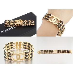 Chanel Gold Tone and Black Leather CC Logo Vintage Bracelet