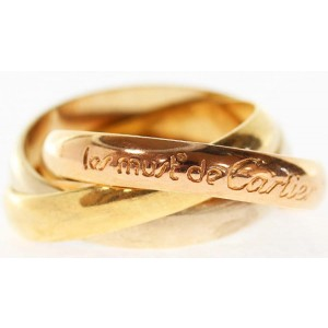 Cartier 18K Yellow, White & Pink Gold Trinity Ring Size 5.75