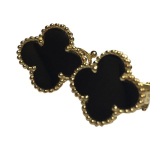 Van Cleef & Arpels Alhambra 18K Yellow Gold & Black Onyx Earrings