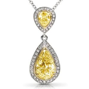 Fancy Yellow Diamond Pendant 1 7/8ct.tw in 18k Gold (Certified)