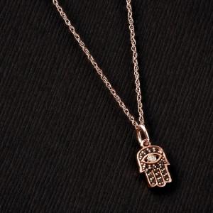 Black and White Diamond Hamsa Pendant 1/10ct.tw in 14k Rose Gold
