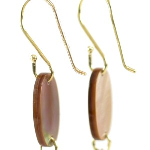 Ippolita 18K Yellow Gold Brown Black Shell Quartz Portofino Drop Earrings