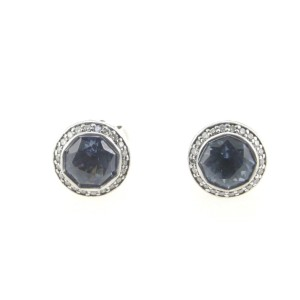 John Hardy Sterling Silver Round Blue Topaz & Diamond Earrings