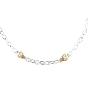 Judith Ripka Sterling Silver 18K Yellow Gold Diamond Heart Chain Link Necklace