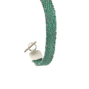 Ippolita Sterling Silver Green Mesh Hammered Stone Toggle Clasp Bracelet