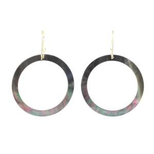 Ippolita 18K Yellow Gold Black Shell Slice Open Circle Drop Hook Earrings