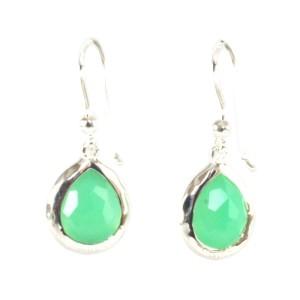 Ippolita Sterling Silver Green Chrysoprase Diamond Small Stella Teardrop Earrings