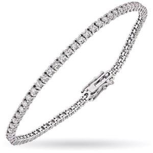 14K White Gold 4.25 Carat Diamond Tennis Bracelet