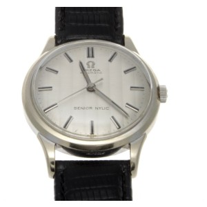 Omega Senior Nylic 14K White Gold Automatic Mens Watch