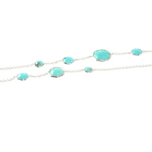 Ippolita Sterling Silver Turquoise Rock Candy Octagon Long Chain Link Necklace