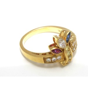 18K Yellow Gold Sapphire Ruby Fancy Yellow Diamonds Ring