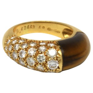 Cartier 18K Yellow Gold Diamond and Tiger's Eye Ring
