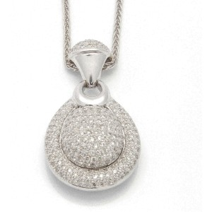 18K White Gold Large Drop Diamond Pendant Necklace