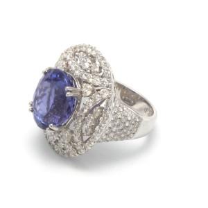 18K White Gold Diamonds Blue Tanzanite Ring
