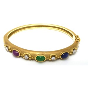 18K Yellow Gold Multi Gem Diamonds Bangle Bracelet