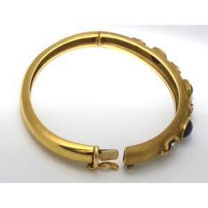 18K Yellow Gold Multi Gem Diamonds Bangle Bracelet