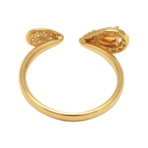 18K Gold Open Pear Citrine & Diamond Band Ring