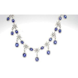 18K Gold Diamonds Ceylon Blue Sapphires Necklace