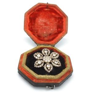 Georgian 18k Yellow Gold/silver 8.50 Ctw Diamond Flower Brooch Pin