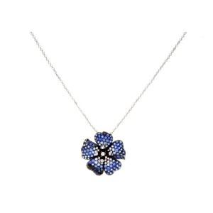 18K White Gold Diamond Sapphire Flower Necklace