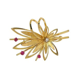 Tiffany & Co. 14K Yellow Gold Ruby, Diamond Brooch