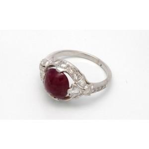 14K White Gold Red Ruby Diamonds Ring