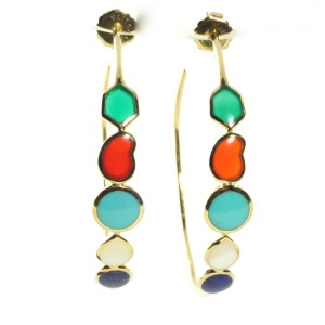 Ippolita 18K Yellow Gold Large Riviera Turquoise Lapis Sky Hoop Earrings