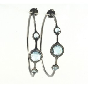 Ippolita Sterling Silver Blue Topaz Diamond Hoop Earrings