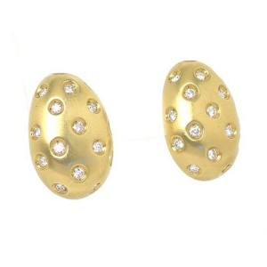 18k Yellow Gold Flush Set Diamond Egg Shape Stud Earrings