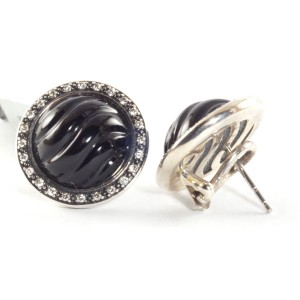 David Yurman Silver Black Onyx Diamond Cable Button Earrings Sterling