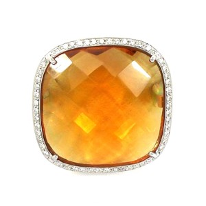 18K White Gold Diamond & Large Orange Quartz Cocktail Ring