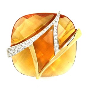 18K Two Tone Gold Large Orange Quartz & Diamond Cocktail Ring