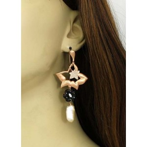18K Rose Gold Diamond, Onyx & Freshwater Pearl Drop Dangle Floral Earrings