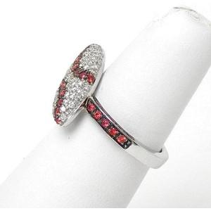 18k White Gold .65ct Diamond & Garnet Marquise Shape Ladies Ring