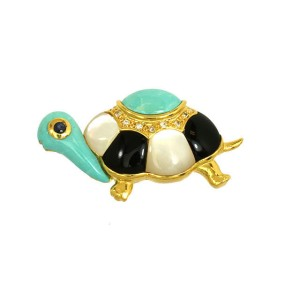18K Yellow Gold Diamond Onyx, Mother Of Pearl & Turquoise 3D Turtle Pin Brooch