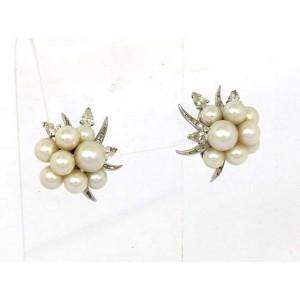 Platinum 14K White Gold Diamond Akoya Pearl Earrings