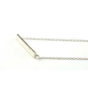 Ippolita .925 Sterling Silver Linear Line Bar Diamond Necklace