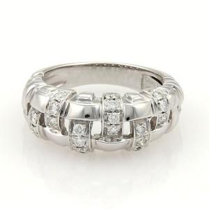 Tiffany & Co. 18K White Gold Gold Diamonds Basket Weave Band Ring