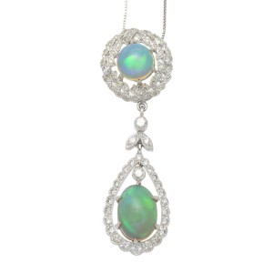 14K White Gold Diamond & Natural Opal Necklace