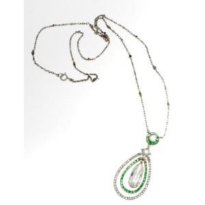 Platinum Emerald & Diamond Art Deco Pendent Necklace