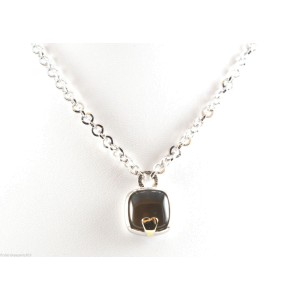 Pianegonda 18K Yellow Gold with Smoky Quartz Heart Link Necklace