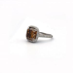 6.88 Carat Cushion Cut Fancy Deep Brown Orange Diamond Ring Size 6