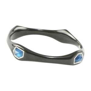 Ippolita Black Resin 925 Sterling Silver Aqua Blue Azure Bangle Bracelet