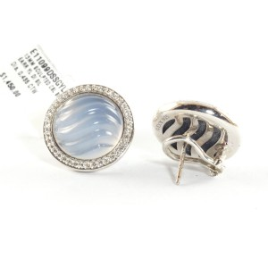 David Yurman 925 Sterling Silver with Blue 0.435ctw Diamond and Chalcedony Cable Button Earrings