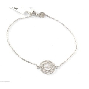 Jude Frances 14K White Gold and Sterling Silver with 0.045ctw Diamond Peace Bracelet