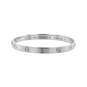 Cartier Love 18K White Gold Bangle Bracelet Size 16