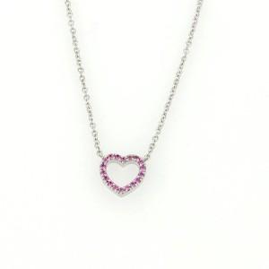tiffany amp co 18k white gold pink sapphire mini heart
