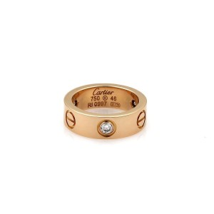 Cartier Love 18K Rose Gold Diamond Band Ring Size 3.75