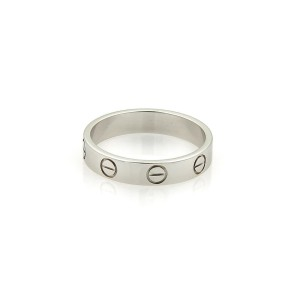 Cartier Mini Love Platinum Band Ring Size 5.25